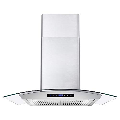 Cosmo COS-668AS750 30 in. Wall Mount Range Hood with 380 CFM, Curved...