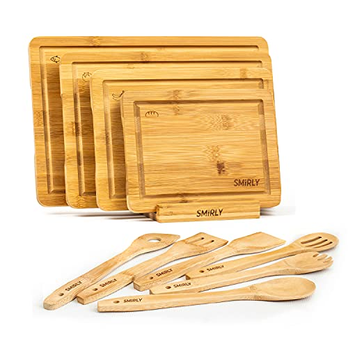 Smirly Bamboo Cutting Board Set: Wood Cutting Boards for Kitchen, Wood...