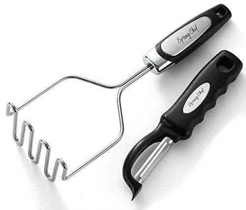 Spring Chef Stainless Steel Potato Masher with Easy to Use and Clean...