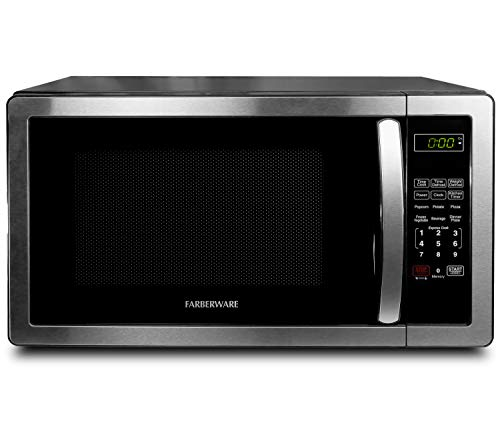 Farberware 1.1 Cu. Ft. Stainless Steel Countertop Microwave Oven with...