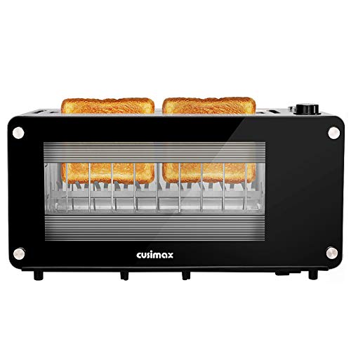 Toaster 2 Slice, CUSIMAX Toaster Long Slot with Glass Window Bagel...