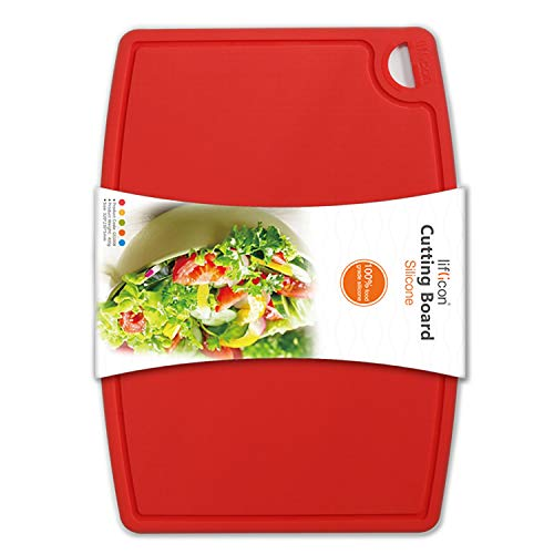 Liflicon Thick Silicone Cutting Board 12.6'' x 9.1'' Juice Grooves...
