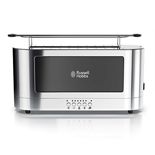Russell Hobbs 2-Slice Glass Accent Long Toaster, Black & Stainless...