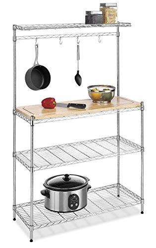 Whitmor Supreme Baker's Rack with Food Safe Removable Wood Cutting...