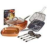 Copper Chef 10 Piece Cookware Set - 9.5 Inches Deep Square Pan &...