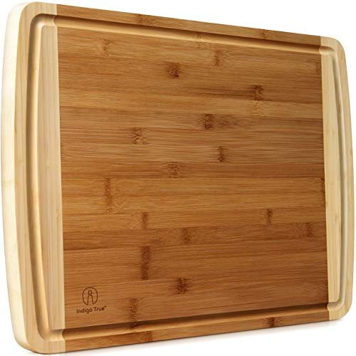 Extra Large Bamboo Cutting Board for Kitchen with Juice Groove - 17.5...