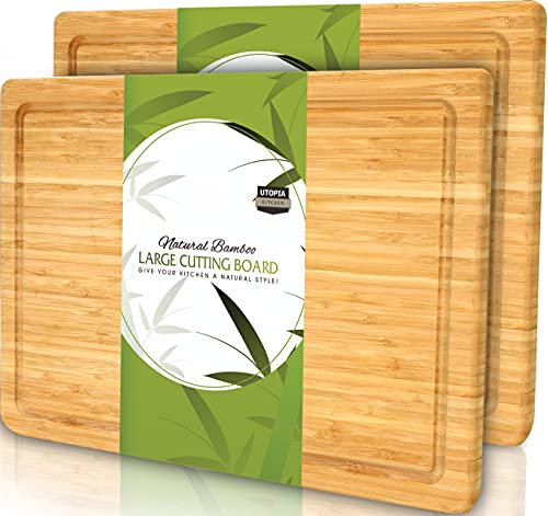 Utopia Kitchen (Pack of 2) Extra Large Bamboo Cutting Board with Juice...