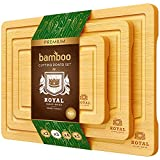 Bamboo Cutting Board Set with Juice Groove (3 Pieces) - Wood Cutting...