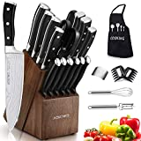 Knife Set, 22 Pieces Kitchen Knife Set with Block Wooden, Germany High...