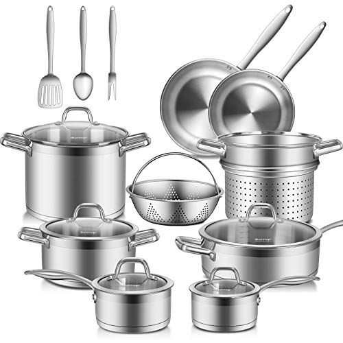 Duxtop Professional Stainless Steel Pots and Pans Set, 17PC Induction...