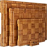 Extra Large Bamboo Cutting Boards, (Set of 3) Chopping Boards with...